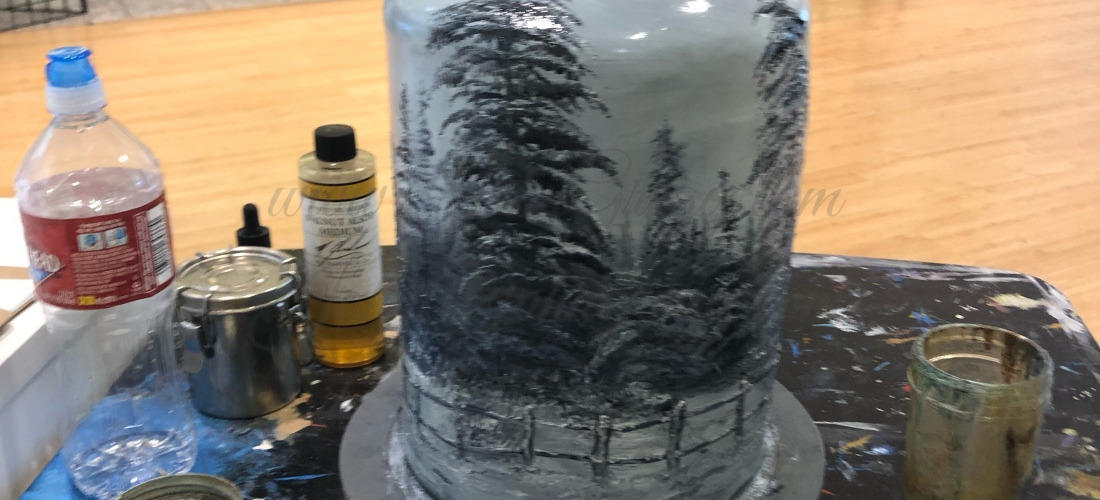 Snowy Forest ceramic bell by John Gregg An original oil painting on handmade ceramic bell.