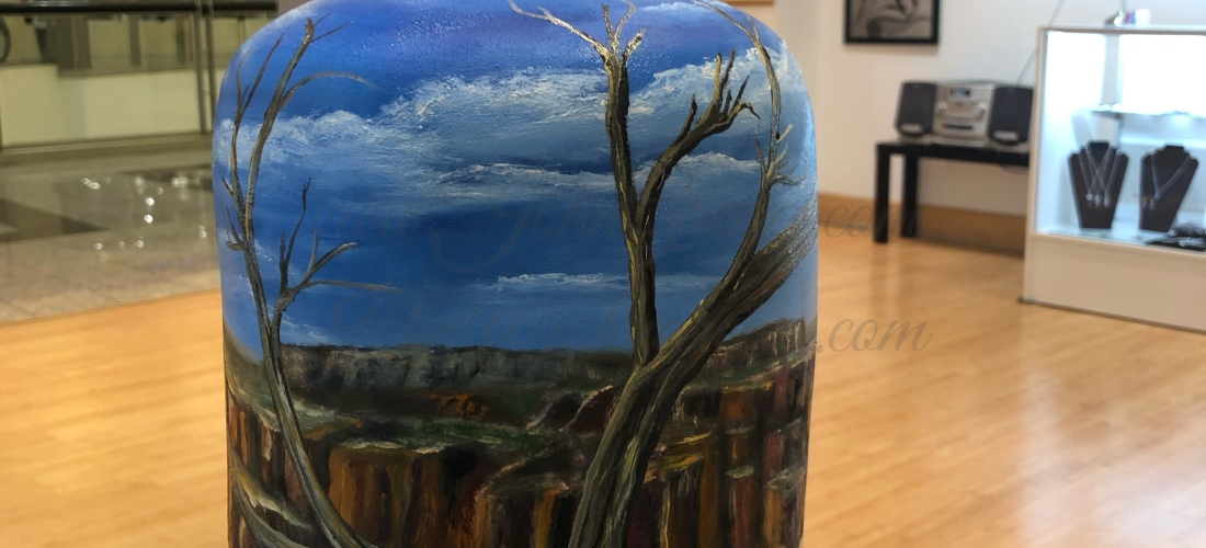 Cedar trees over looking Canyon lands bell by John Gregg An original oil painting on handmade ceramic bell.