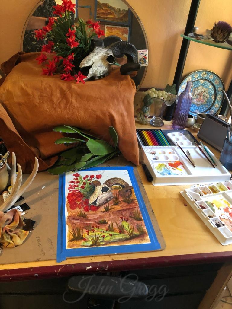 Watercolor painting studio setup