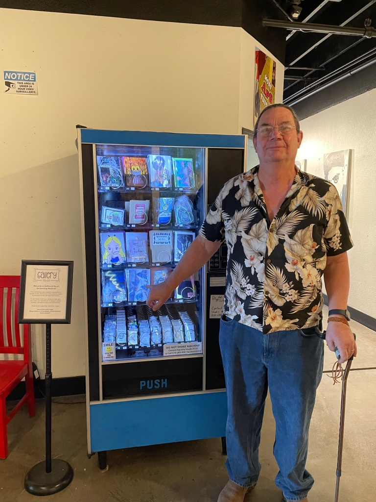 Gallery to Go vending machine with original watercolor blank card.